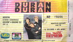 Ticket duran duran 1 Modena (Italy), Stadio Comunale