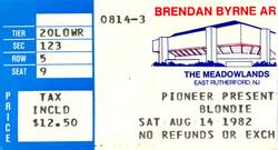 Blondie 14 aug 82 duran duran ticket