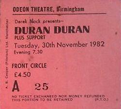 Odeon birmingham new street wikipedia ticket stub duran duran band birmingham