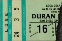 Y San Diego Sports Arena, San Diego, CA, USA wikipedia duran duran ticket stub 1984