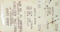 Kansas City MO (USA), Muncipal Auditorium 16 feb 84 ticket stub wikipedia duran duran