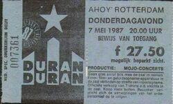 Ticket rotterdam holland 7 may 1987 duran duran live show concert date