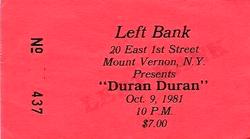 Ticket duran duran 9 october 1981