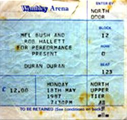 Ticket duran duran concert wembley london 1987