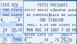 Ticket ticketmaster website david bowie duran duran Molson CNE Stadium, Toronto, ON (Canada) - 24 August 1987 discogs wiki look at stubs