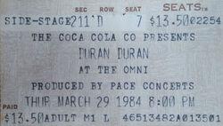 Ticket stub The Omni Atlanta GA USA wikipedia duran duran band