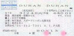 Ticket duran 24 march 87