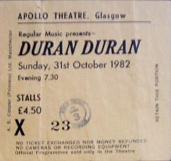 Ticket apollo theatre glasgow duran duran 1982 discogs wiki