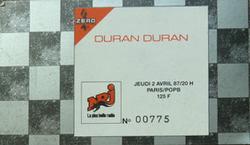 Ticket Duran Duran ticket stub 2 from Paris 2 April 1987 wikipedia