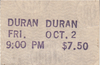 The Roxy, Hollywood, CA (USA) - 2 October 1981 wikipedia duran duran ticket 1