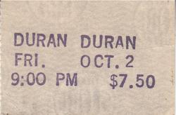 The Roxy, Hollywood, CA (USA) - 2 October 1981 wikipedia duran duran ticket 1