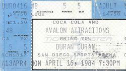 San Diego ticket wikipedia duran duran