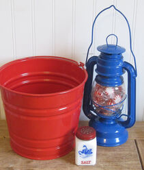 Vintage Red White and Blue Salt Shaker, Lantern and Galvanized Bucket for outdoor summer entertaining party