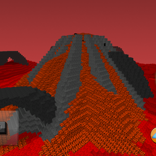 The third picture of the mystery red landscape. This is the first release of a volcano with lava.