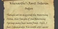 Khenarthi's Roost: Interim Orders