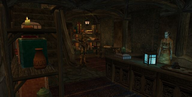 File:TES3 Morrowind - Balmora - Dorisa Darval Bookseller interior.jpg