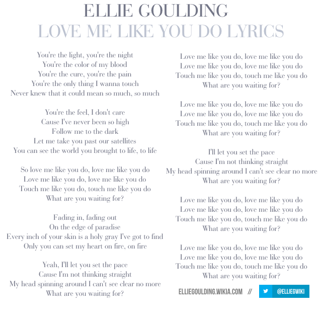 Image Love Me Like You Do Lyrics Png Ellie Goulding