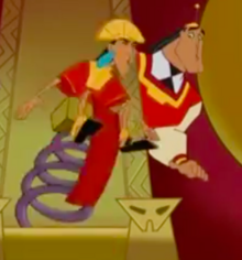 Kuzco being suddenly bounced off the throne, with Kronk watching in amazement.