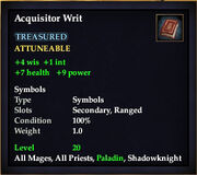 Acquisitor Writ