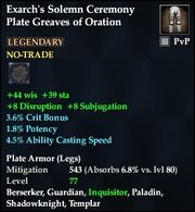 Exarch's Solemn Ceremony Plate Greaves of Oration