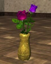 Pink and Purple Roses in an Oval Vase (Visible)