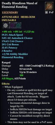 Deadly Bloodiron Wand of Elemental Rending