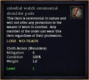 Celestial watch ceremonial shoulder pads