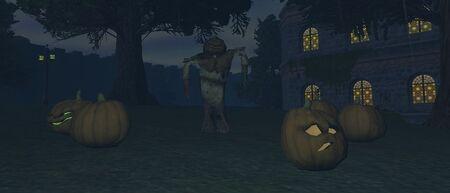 Scarecrow and Jack-o-Lanterns