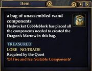 A bag of unassembled wand components