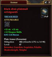 Black ebon platemail wristguards