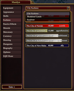 Character Window Factions Tab