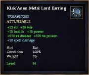 Klak'Anon Metal Lord Earring