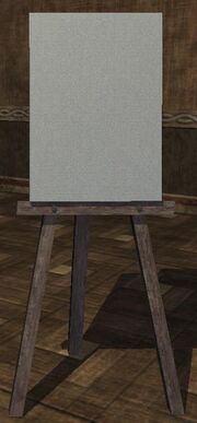 A wooden easel with canvas (Visible)