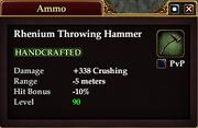 Rhenium Throwing Hammer