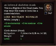 An infernal skeleton mask examine