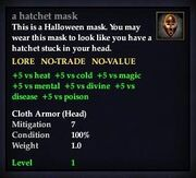 A hatchet mask