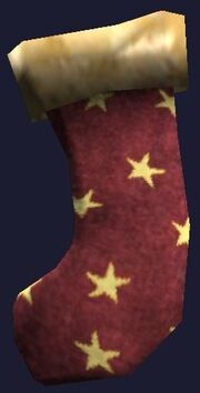 A red and gold stocking (Visible)
