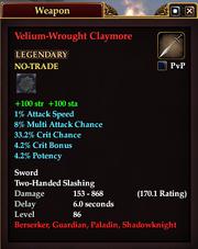 Velium-Wrought Claymore