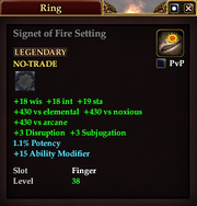 Signet of Fire Setting