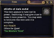 Stiletto of dark metal