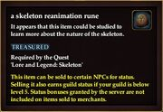 A skeleton reanimation rune