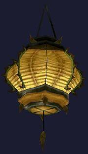 Swaying yellow paper lantern (Visible)