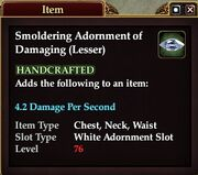 Smoldering Adornment of Damaging (Lesser)