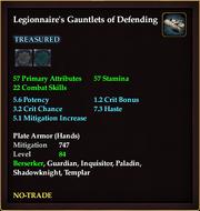 Legionnaire's Gauntlets of Defending