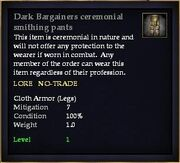 Dark Bargainers ceremonial smithing pants