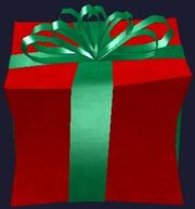 Red and green prefabricated gift box (Visible)