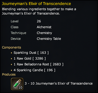 Journeyman's Elixir of Transcendence Recipe