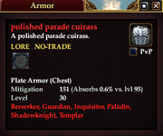 Polished parade cuirass