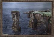 Oil Painting of a Sea Shore Cliff (Visible)