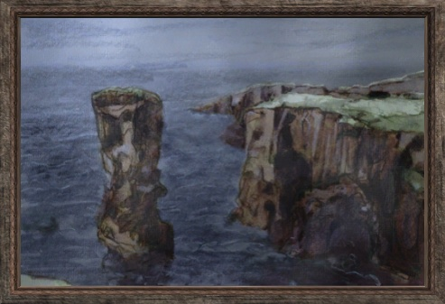 File:Oil Painting of a Sea Shore Cliff (Visible).jpg